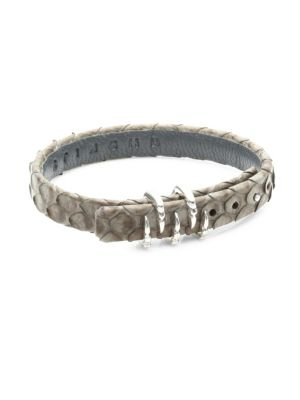 STINGHD Silver Claw and Leather Bracelet