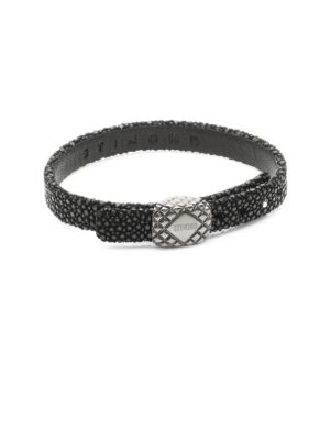 STINGHD Platinum Square and Leather Bracelet
