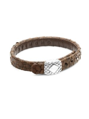 STINGHD Silver Square and Leather Bracelet