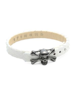 STINGHD Platinum Skull and Crossbones Leather Bracelet