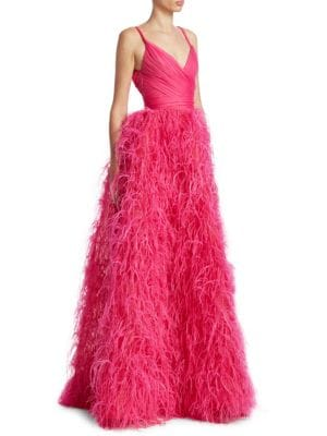 Drop Bodice Feather Gown