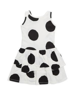 Toddler's, Little Girl's & Girl's Ruffled Polka Dots Cotton Dress