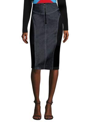 Zip-Front Jean Skirt