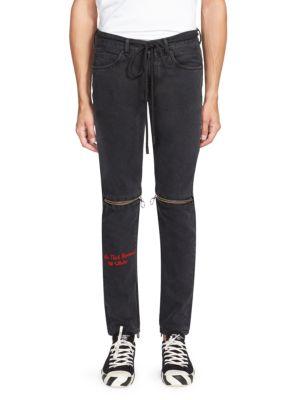zip detail slim-fit jeans