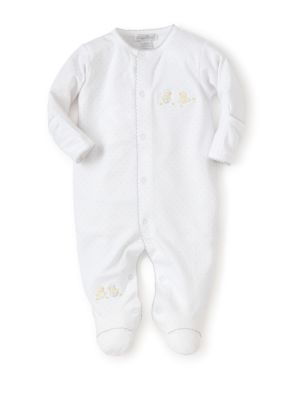 Baby's Embroidered Hatchlings Dot-Print Cotton Footie