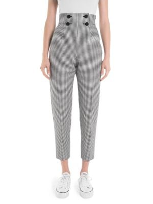 Checked Button-Front Cropped Pants