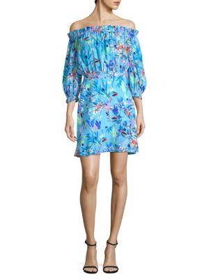 Grace Off-The-Shoulder Silk Mini Dress