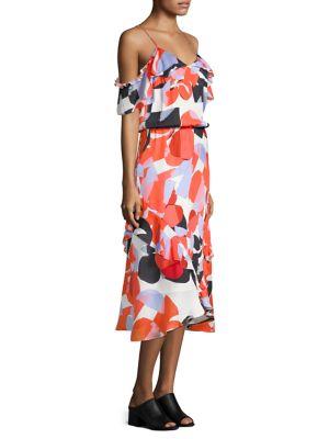 Kam Ruffle Cold-Shoulder Silk Dress