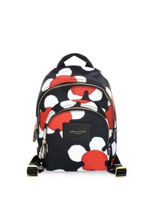 RED/BLACK DAISY PRINT NYLON MINI DOUBLE BACKPACK