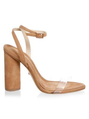 Schutz Women's Geisy Suede Illusion Ankle Strap Block Heel Sandals nAs9U