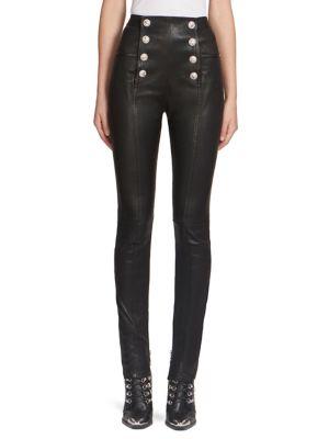 Cuir Bouton Embelli Pantalon Skinny - Noir Balmain POUFPAfU