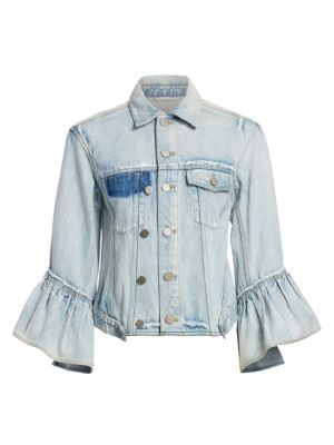 Indigo Denim Ruffle Sleeves Jacket