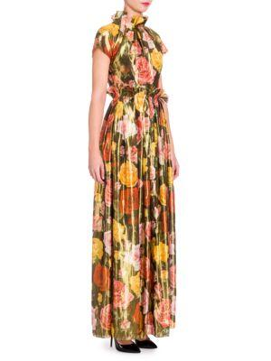 Floral Silk Lamé Gown