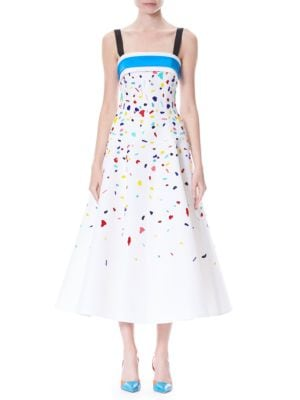 Confetti Embellished Silk Faille Cocktail Dress