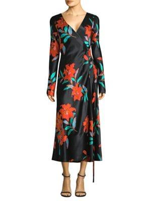 Floral Long Sleeve Woven Wrap Dress