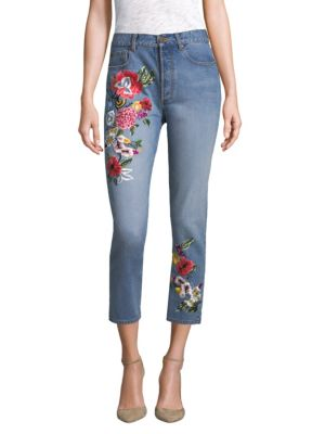 Embroidered High-Rise Slim-Fit Jeans