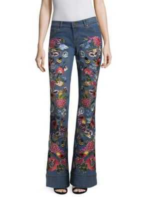AO.LA Ryley Embroidered Low-Rise Bell Bottom Jeans