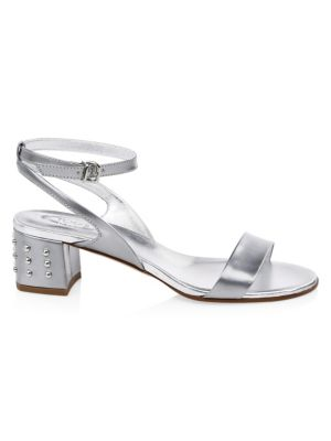 Metallic Leather Ankle-Strap Sandals