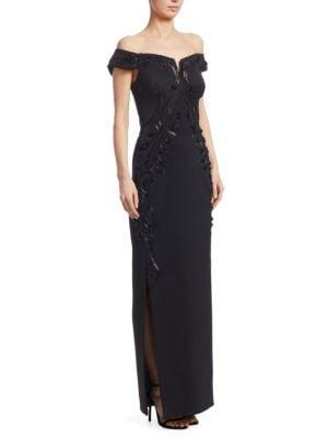 Bead Off-Shoulder Gown