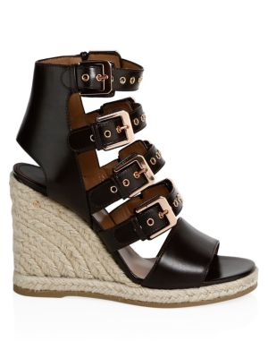 Rosario Shiny Leather Wedge Sandals