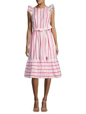 Stripe Cotton Poplin Midi Dress