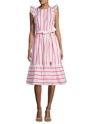 Stripe Cotton Poplin Midi Dress