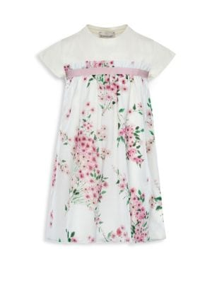 Little Girl's Jersey Dress with Woven Floral Print Overlay