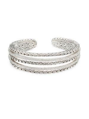 Classic Chain Silver & Diamond Pave Cuff