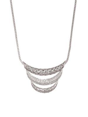 Classic Chain Silver & Diamond Pave Necklace