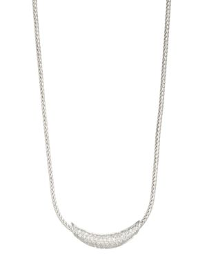 Classic Chain Silver & Diamond Pave Necklace