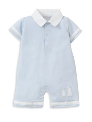 Baby's Pique Bunny Ears Short-Sleeve Cotton Coverall