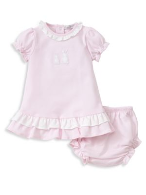 Baby Girl's Pique Bunny Ears Two-Piece Cotton Dress and Bloomers Set