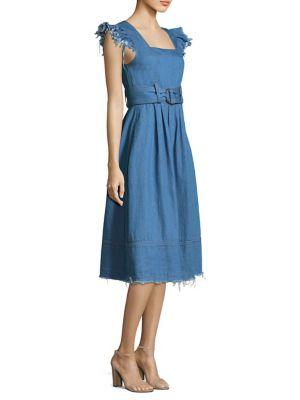 Flutter Sleeve Belted Fit-&-Flare Dress