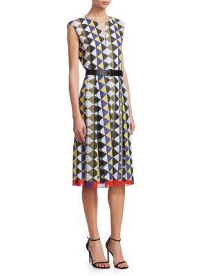 Diamond Stripe Belted Dress by Akris