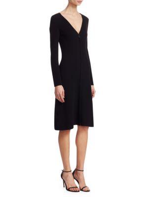 Ribbed V-Neck A-LIne Dress