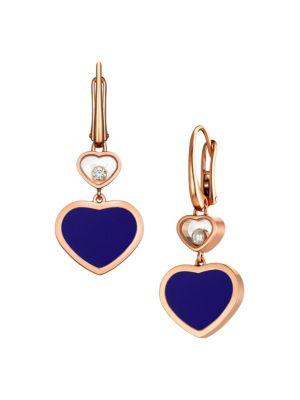 Happy Hearts 18K Rose Gold, Diamond & Blue Stone Drop Earrings