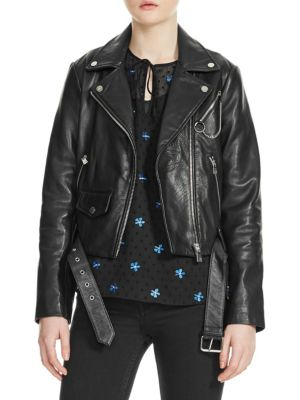 BASSUNG BELTED LEATHER MOTORCYCLE JACKET