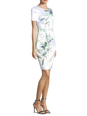 Printed Leaves Short Sleeve Dress