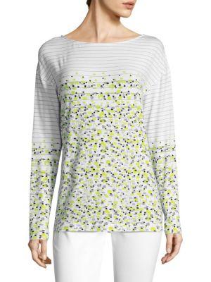 Linear Tweed Print Top