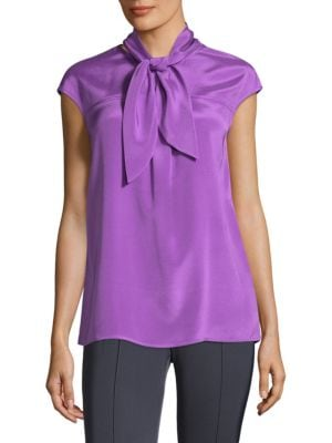 Silk Shell Neck Tie Blouse