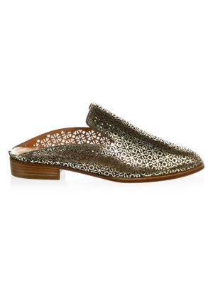Robert Clergerie Women's Asier Perforated Patent Leather Mules 7XZhuqumbO