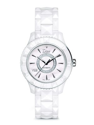 Dior VIII Diamond, Mother-Of-Pearl & White Ceramic Automatic Bracelet Watch