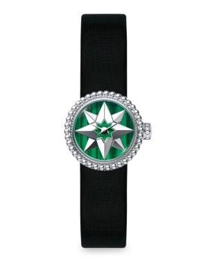 La Mini D de Dior Rose De Vents Malachite & Satin Watch