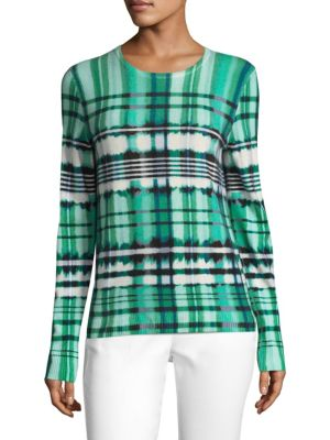 Ombre Plaid Overprinted Sweater