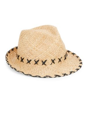 Embroidered Straw Fedora from Saks Fifth Avenue