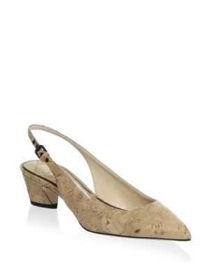 Cork Leather Point Toe Slingbacks