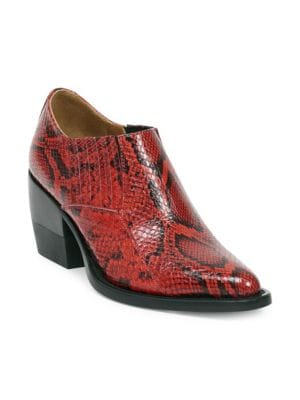 CHLOE RYLEE PYTHON PRINT LEATHER ANKLE BOOTS IN RED,ANIMAL PRINT