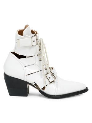 CHLOE LEATHER RYLEE LACE UP BUCKLE BOOTS IN WHITE