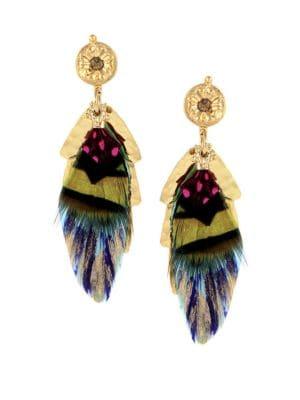 Sao Feather Drop Earrings