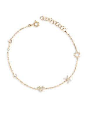 14K Yellow Gold & Diamond Sweetheart Charm Bracelet